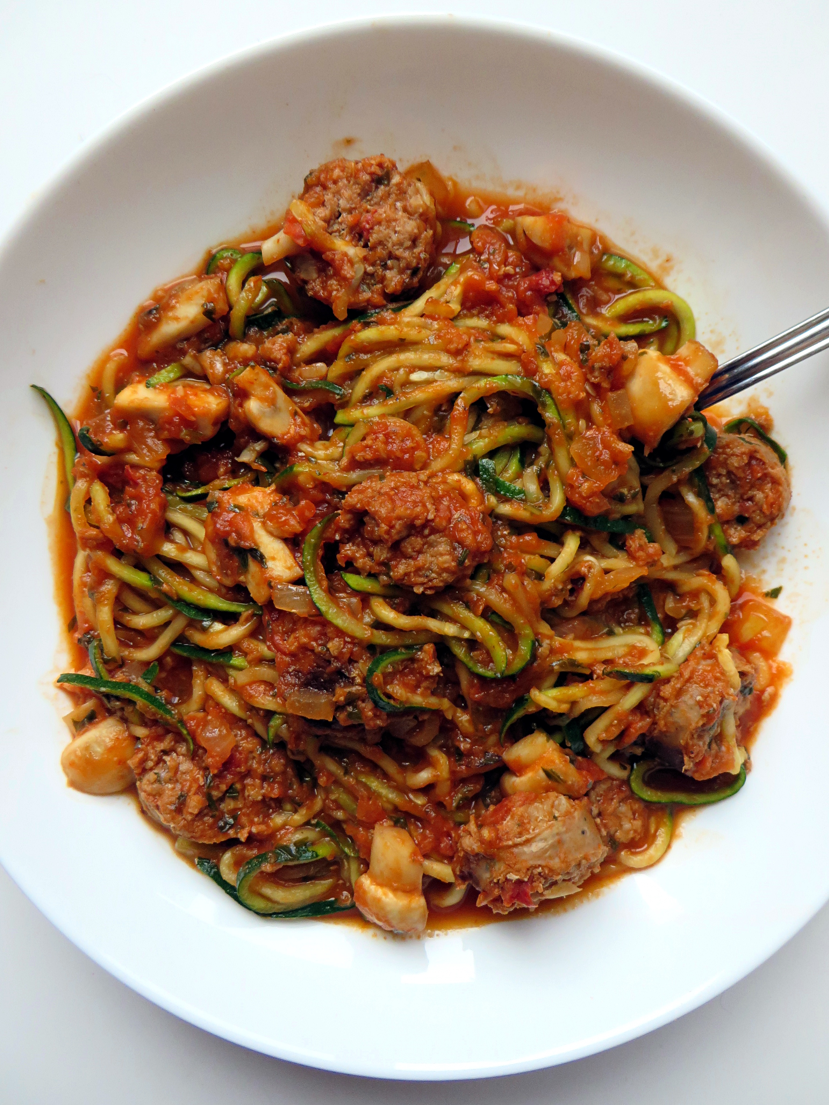 Zoodles With Chicken Sausage And Mushrooms Mouth Half Full